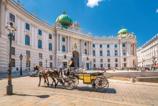 horse an carriage outside hofburg palace, vienna city
