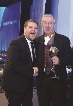 Classic Collection's David Hayes with James Corden collecting the award