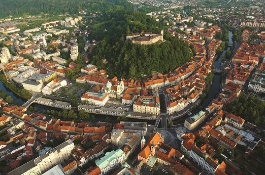 Aerial view of Ljubljana Old Town
