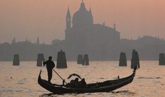Gondola at sunset, Venice