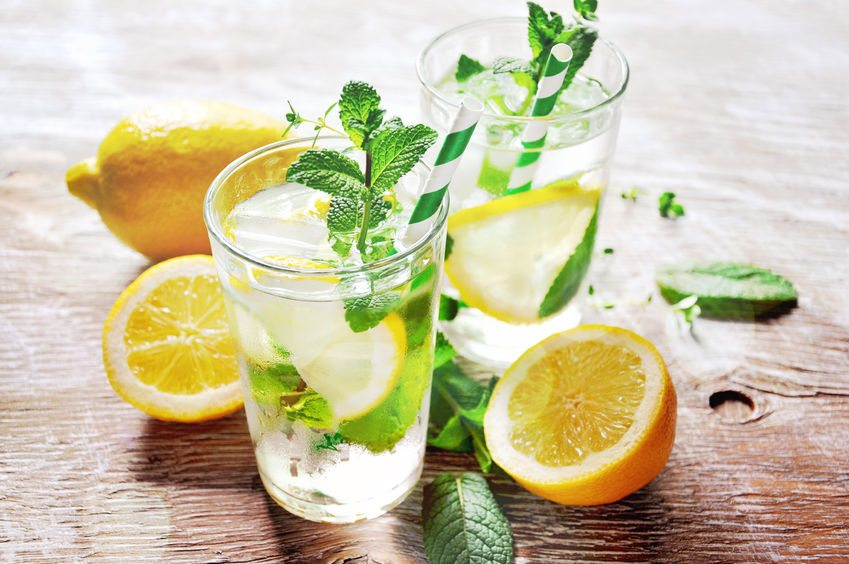 Drinking water infused with mint and lemon