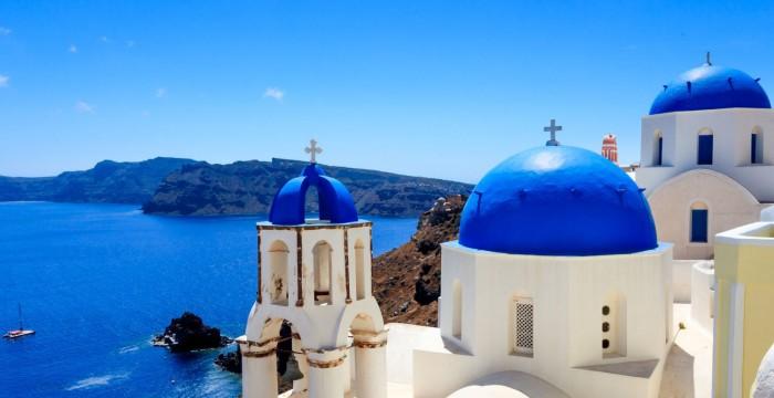 Blue domed building of Oia, Santorini