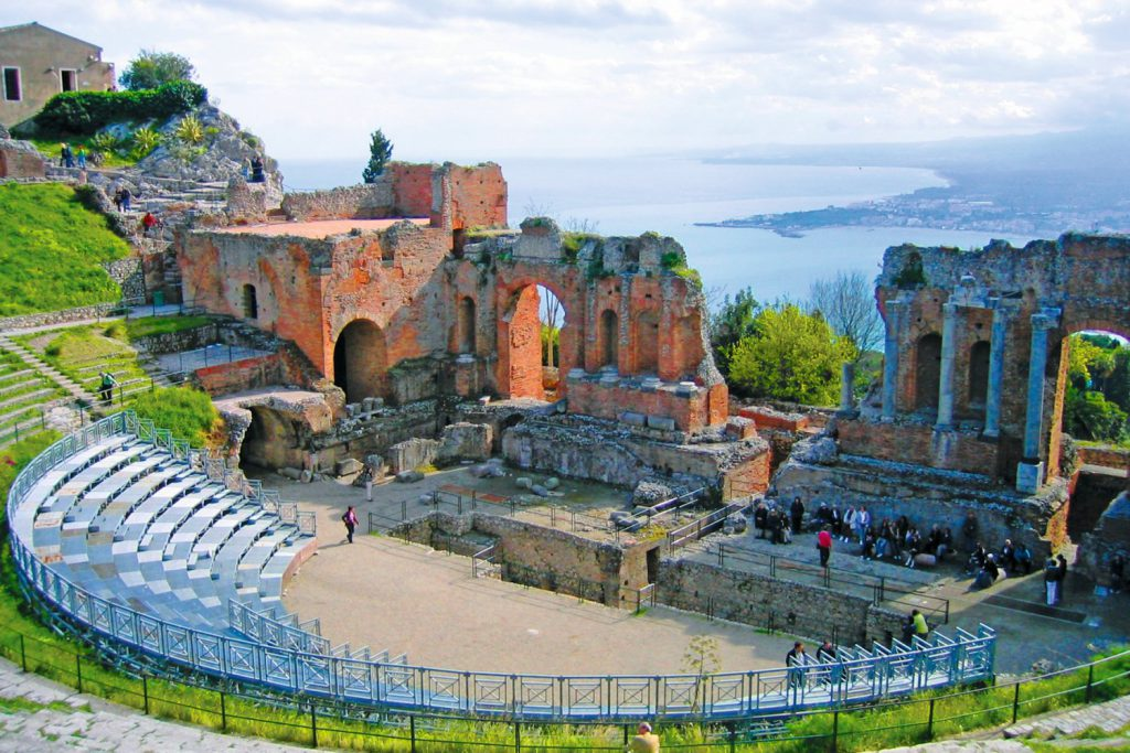Teatro Greco with view of Taormina