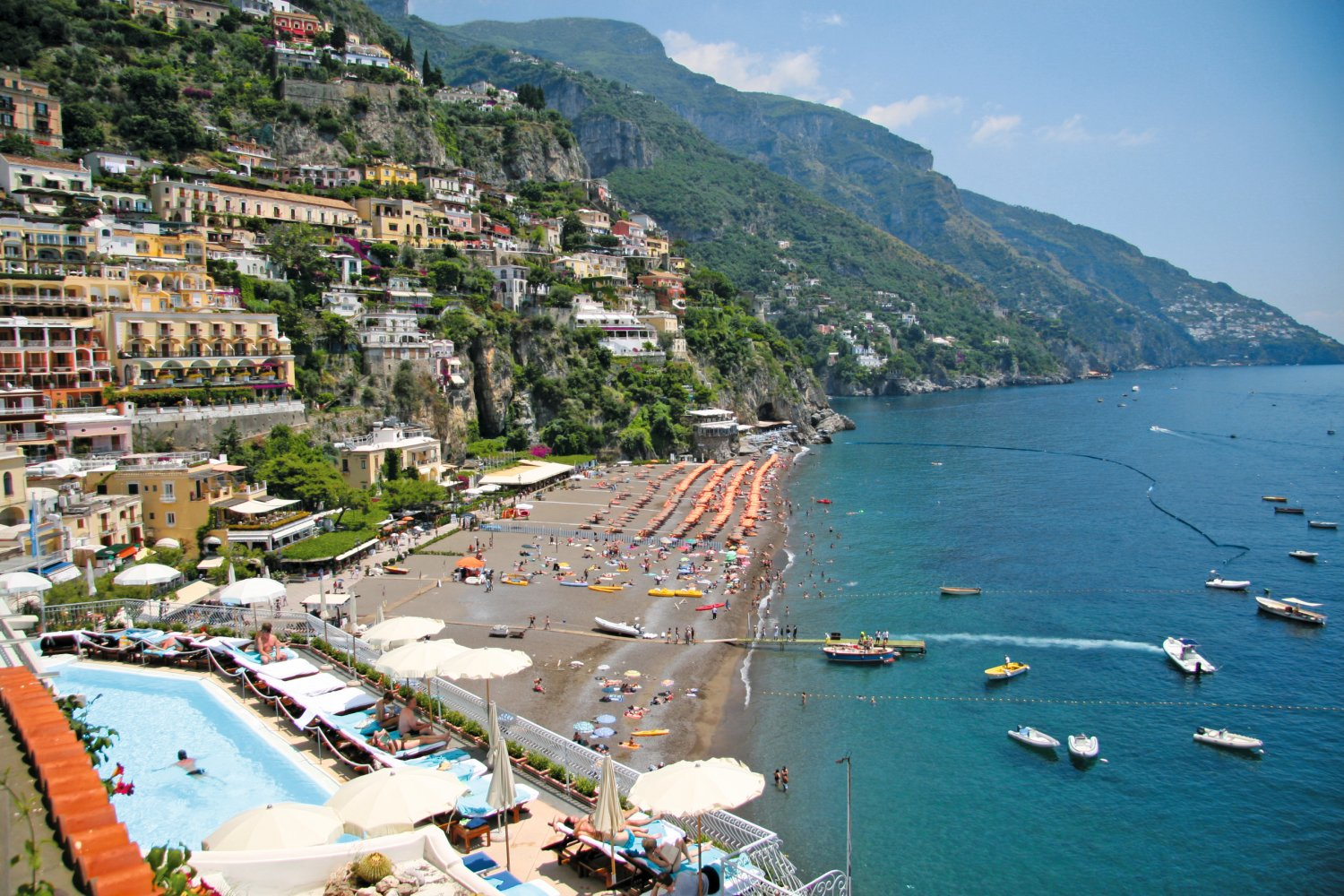view of positano beach near sorrento