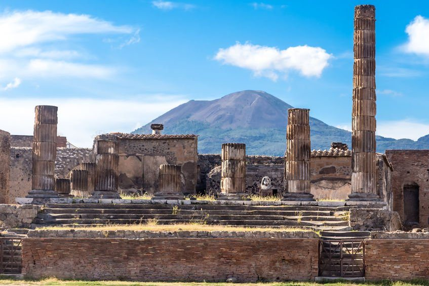 view of Mount Vesuvius from Pompeii