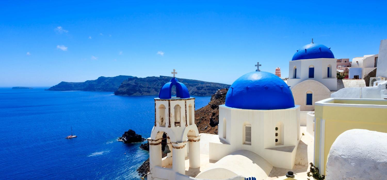 Blue roofs of Santorini