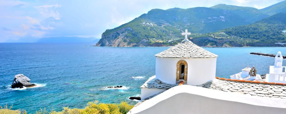 Greece, church above Chora, Skopelos