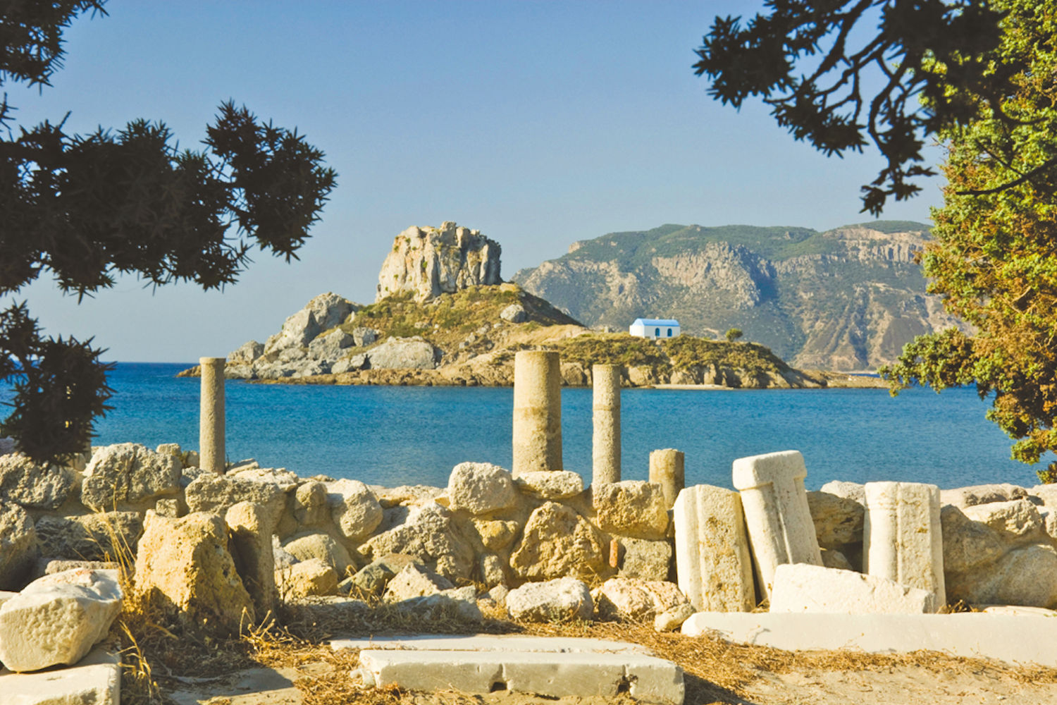 View of Kastri Island from Agios Stephanos Ruins
