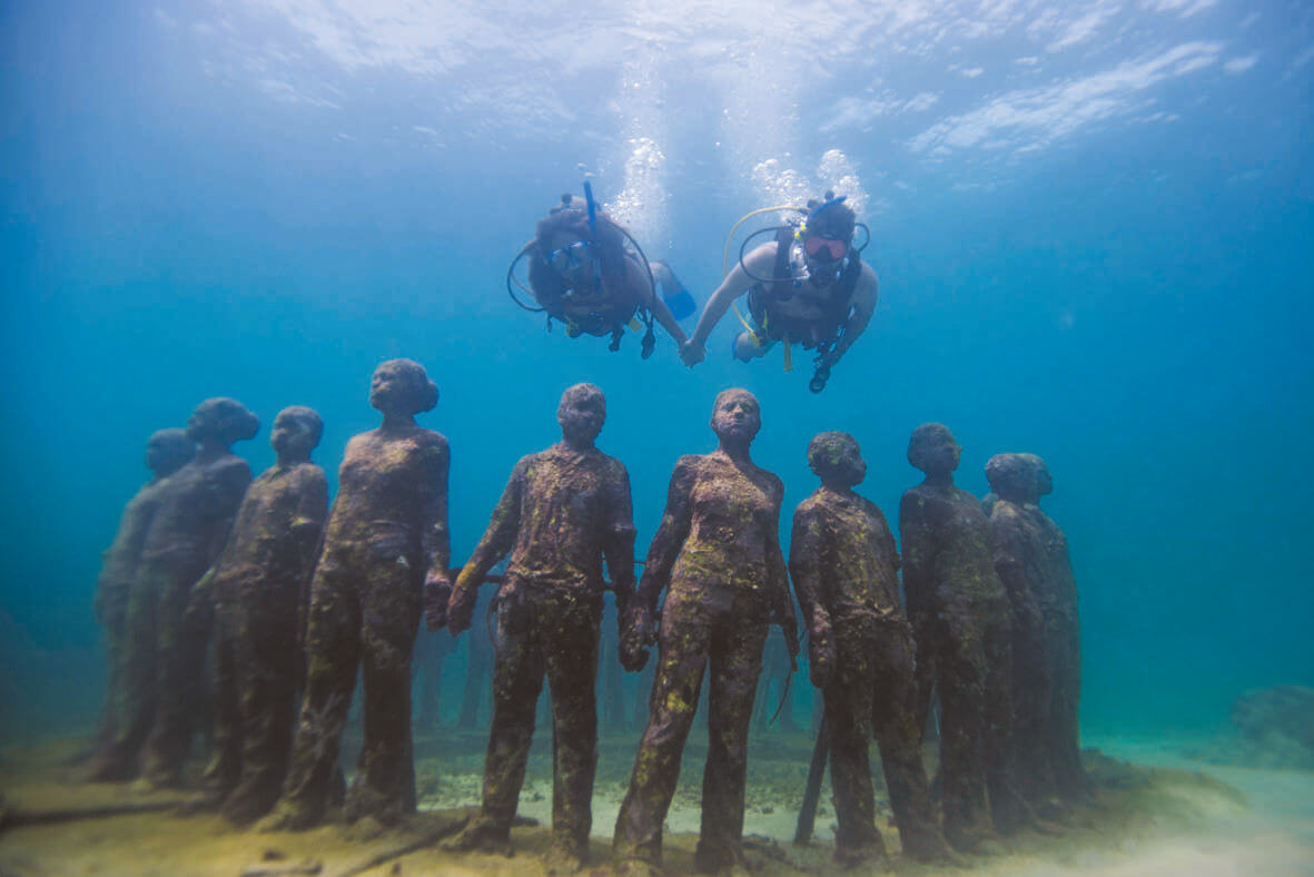 travel experiences, underwater sculptures in grenada