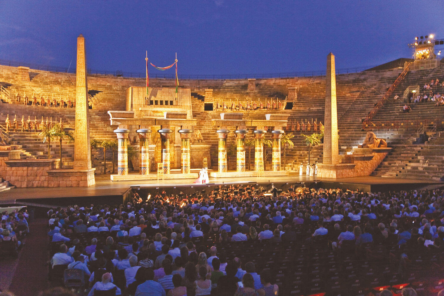 performance of Aida at Verona outdoor theatre