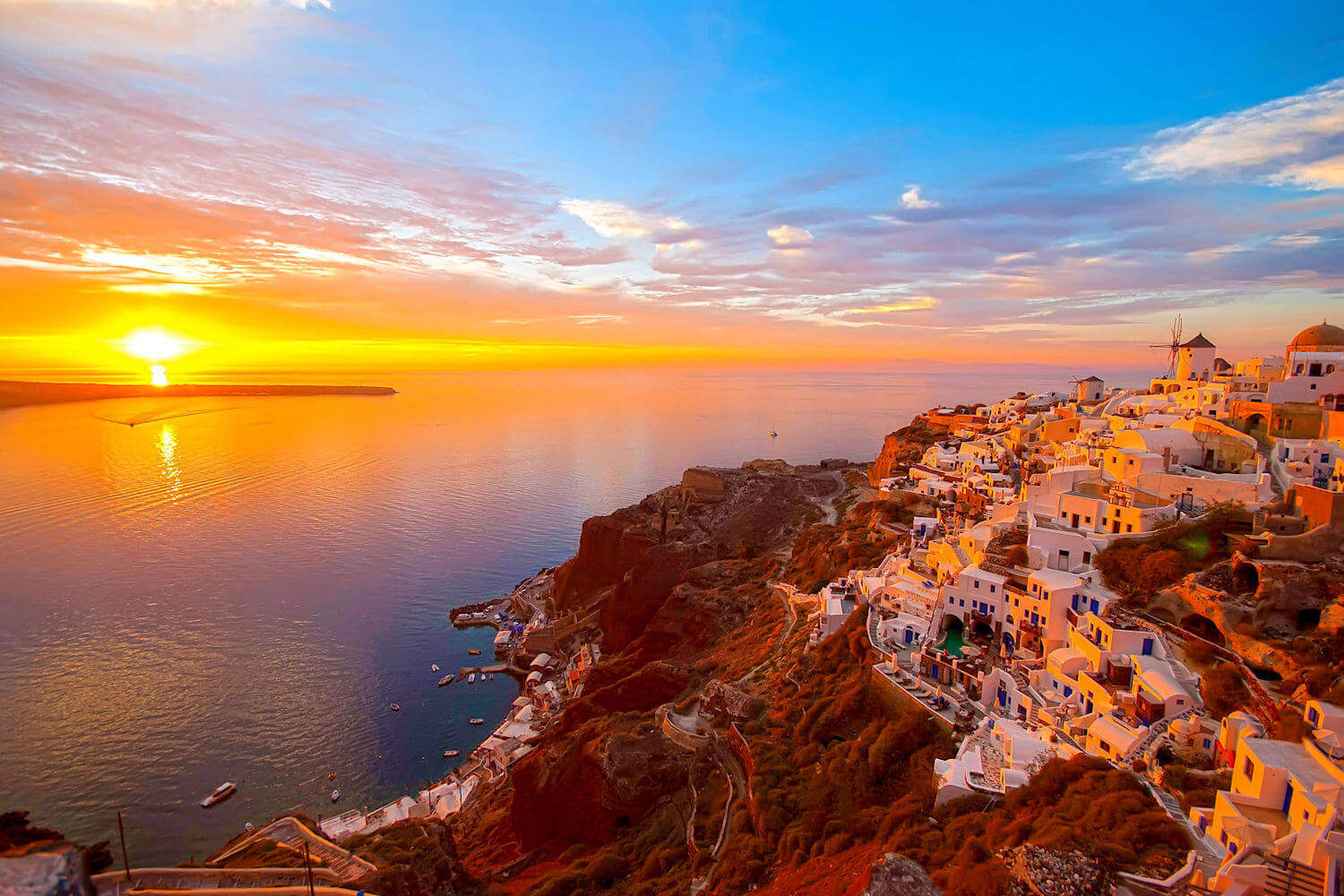 top travel experiences, santorini sunset