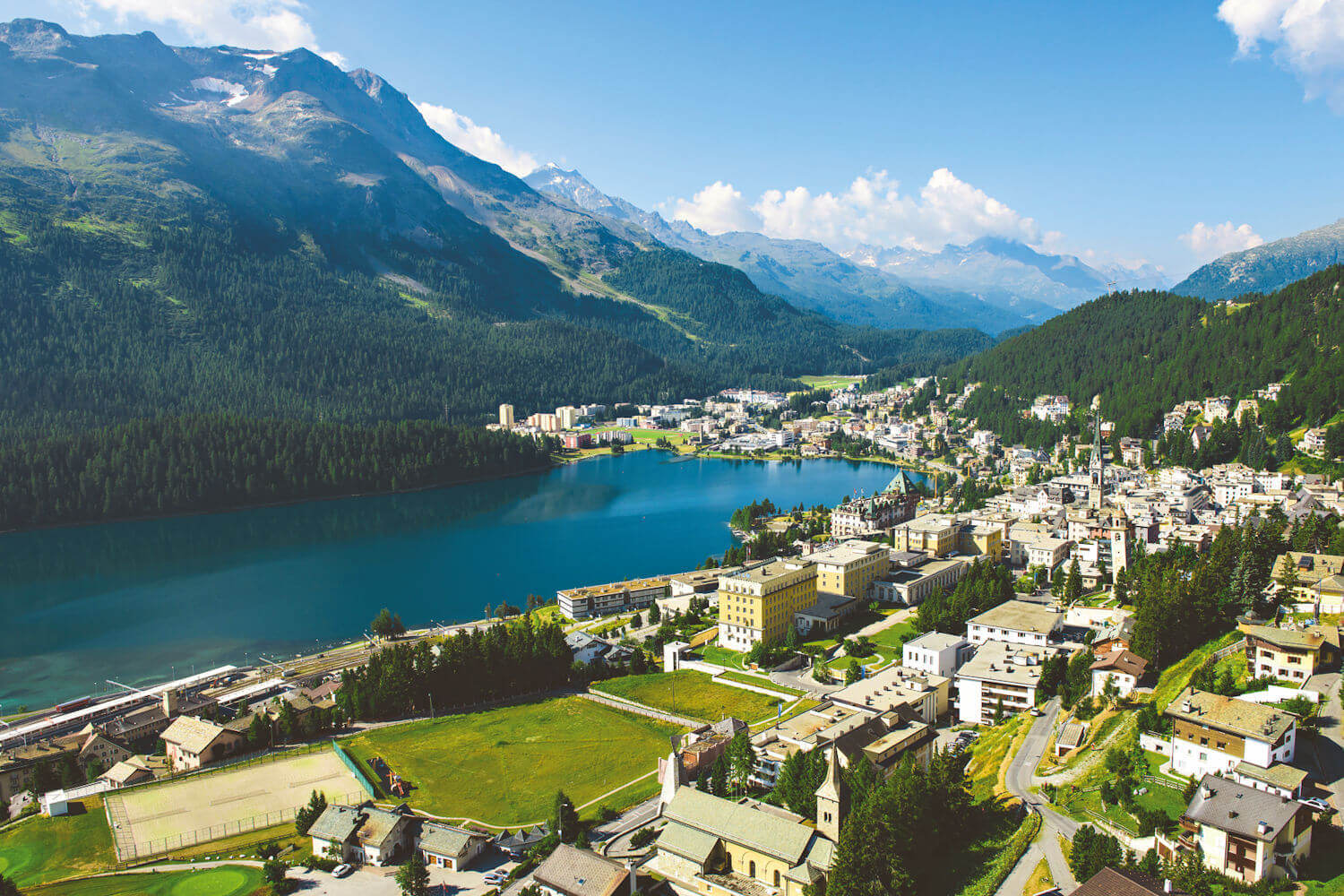 aerial view of St Moritz