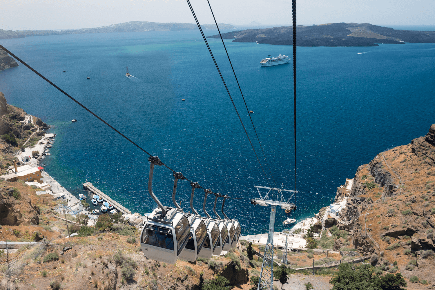 Santorini, cable car from Fira to port