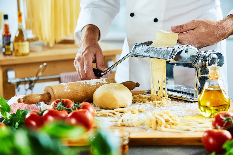 Chef making fresh pasta
