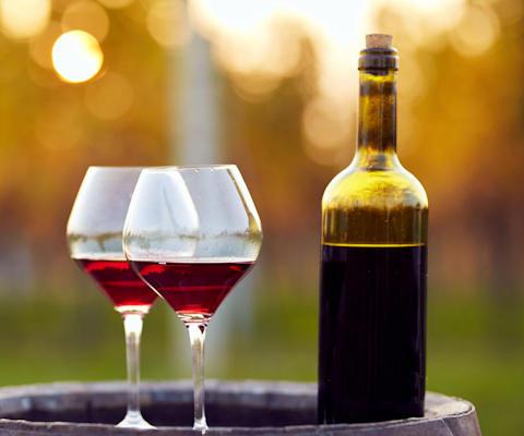Chianti wine estate overlooking vineyards