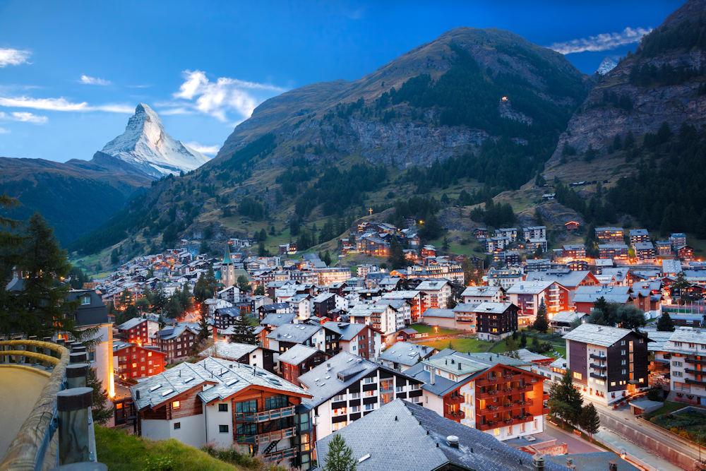 Zermatt Village with the peak of the Matterhorn
