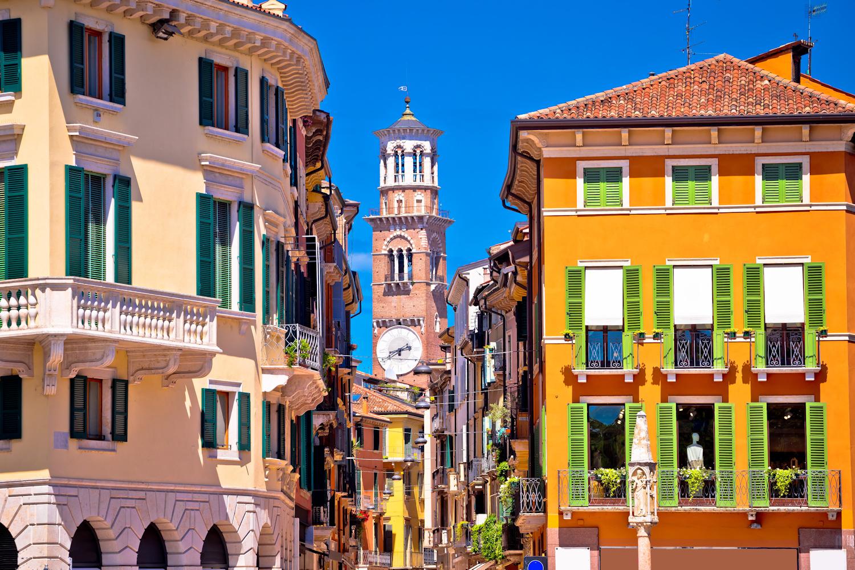 Colourful Street and Lamberti Tower, Verona
